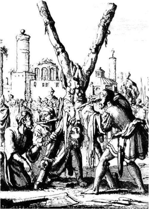Сдирание кожи с христианина в древности. Ян Луйкен. XVII век. Частная коллекция.